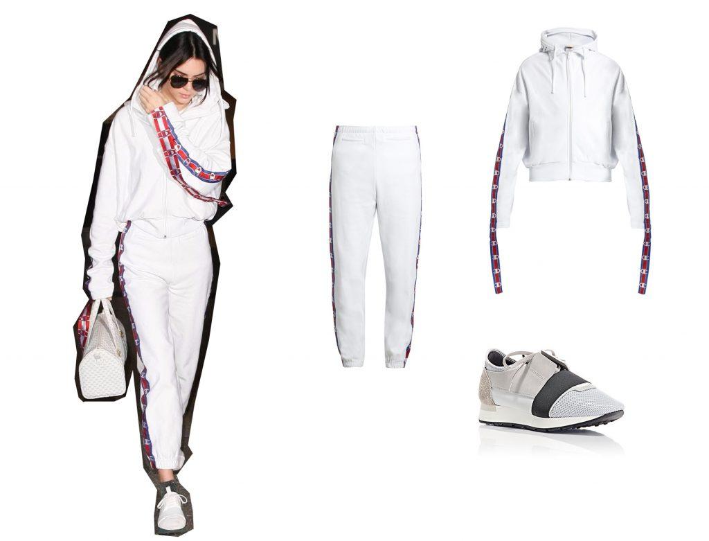 Кайли Дженнер; костюм Vetements; кроссовки Balenciaga