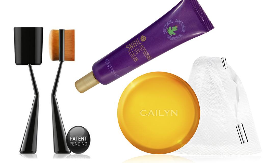 Восстанавливающий крем для глаз с экстрактом улиточной слизи Beautydrugs, Очищающее мыло в саше Cailyn, Двойная кисть для тонального средства CAILYN O!