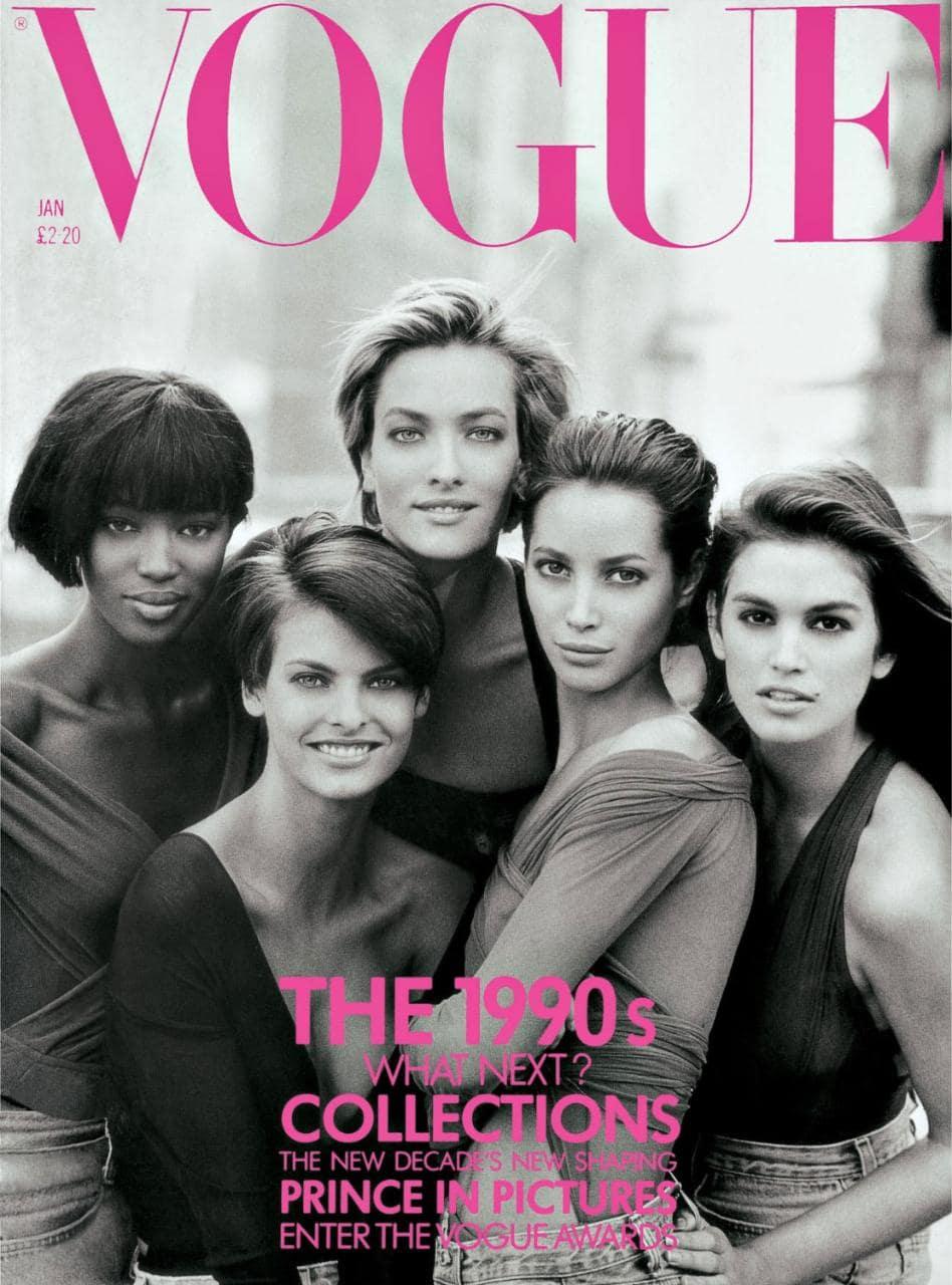 Обложка январского журнала Vogue UK, 1990 год