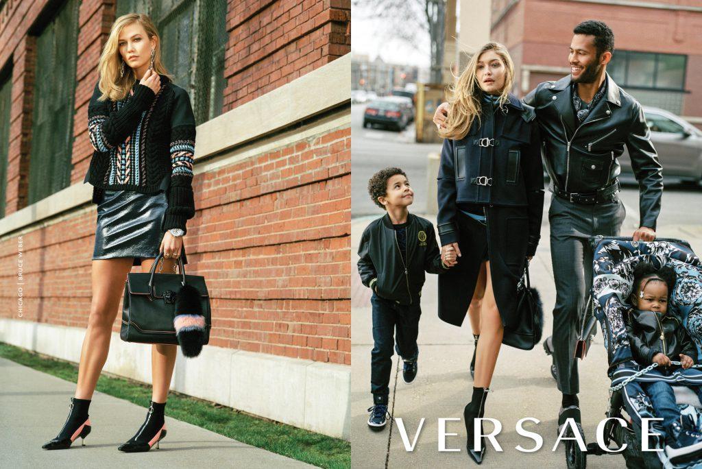 Карли Клосс и Джиджи Хадид в рекламной кампании Versace
