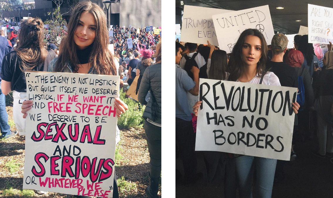 Эмили Ратаковски на митингах против Дональда Трампа