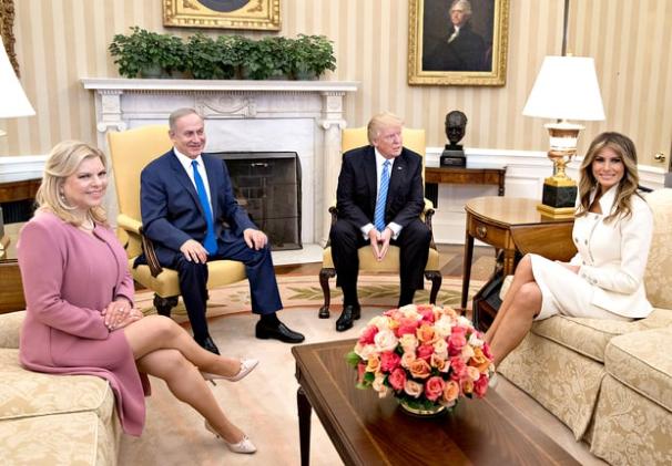 жена премьер-министра Израиля Сара Нетаньяху, премьер-министр Израиля Биньямин Нетаньяху, Дональд Трамп, Мелания Трамп