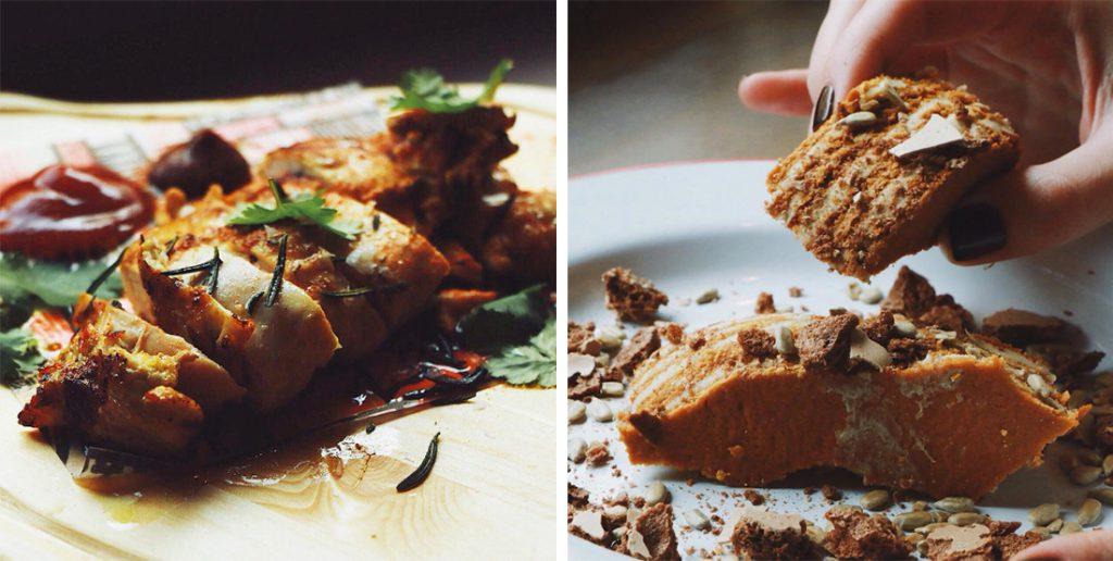 Грудка цыпленка, 250 р.; торт-халва, 240 р.