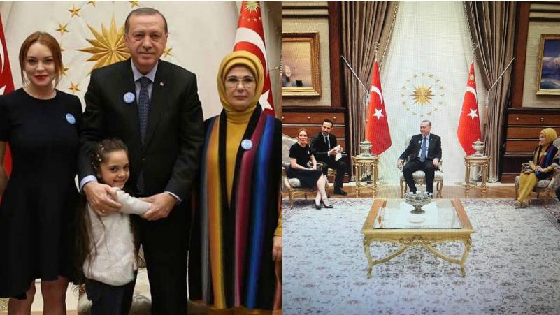 Линдси Лохан с президентом Турции Реджепом Эрдоганом и его семьей