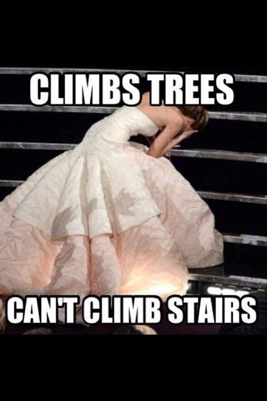 — Дженнифер Лоуренс умеет лазить по деревьям, но лестницы ей не под силу