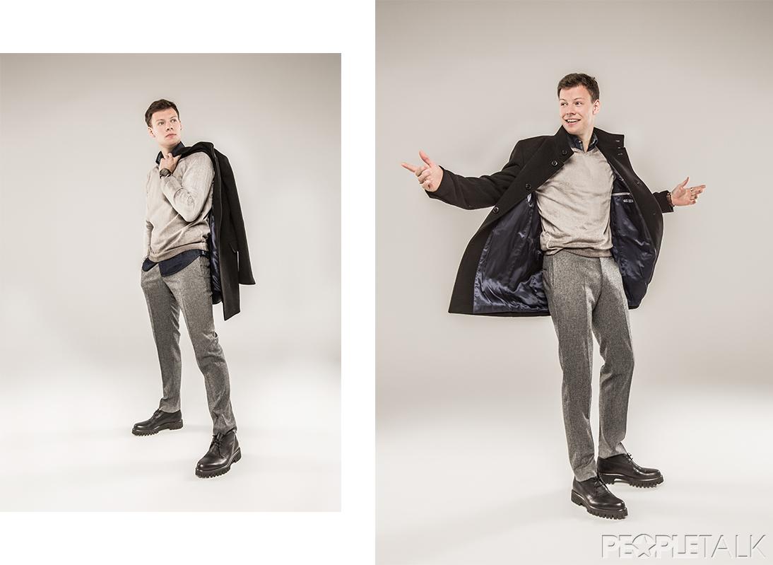 Рубашка, джемпер, брюки, пальто Daniel Hechter; часы, Fossil; ботинки, Alberto Guardiani