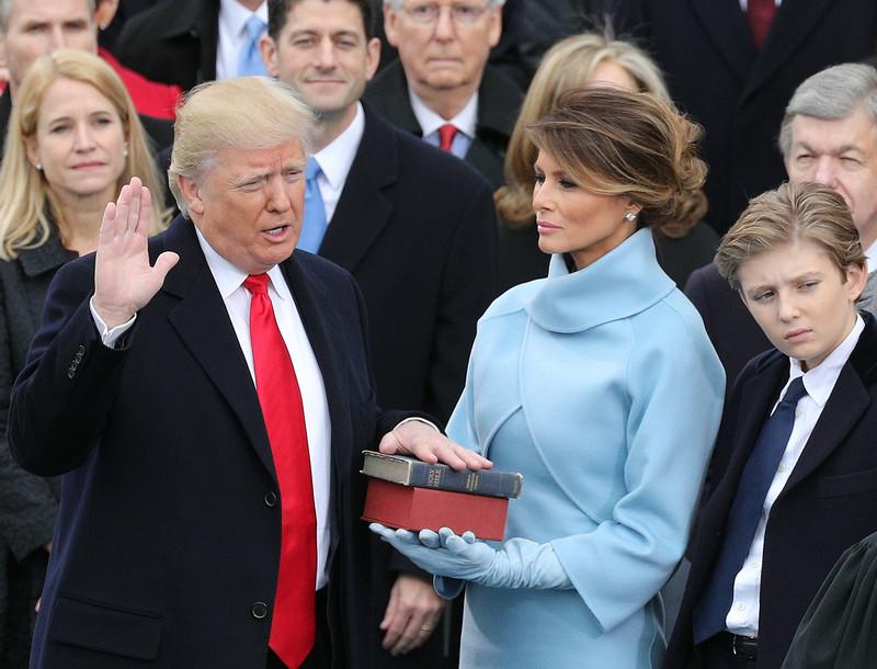 Семья Трамп во время инаугурации 20 января