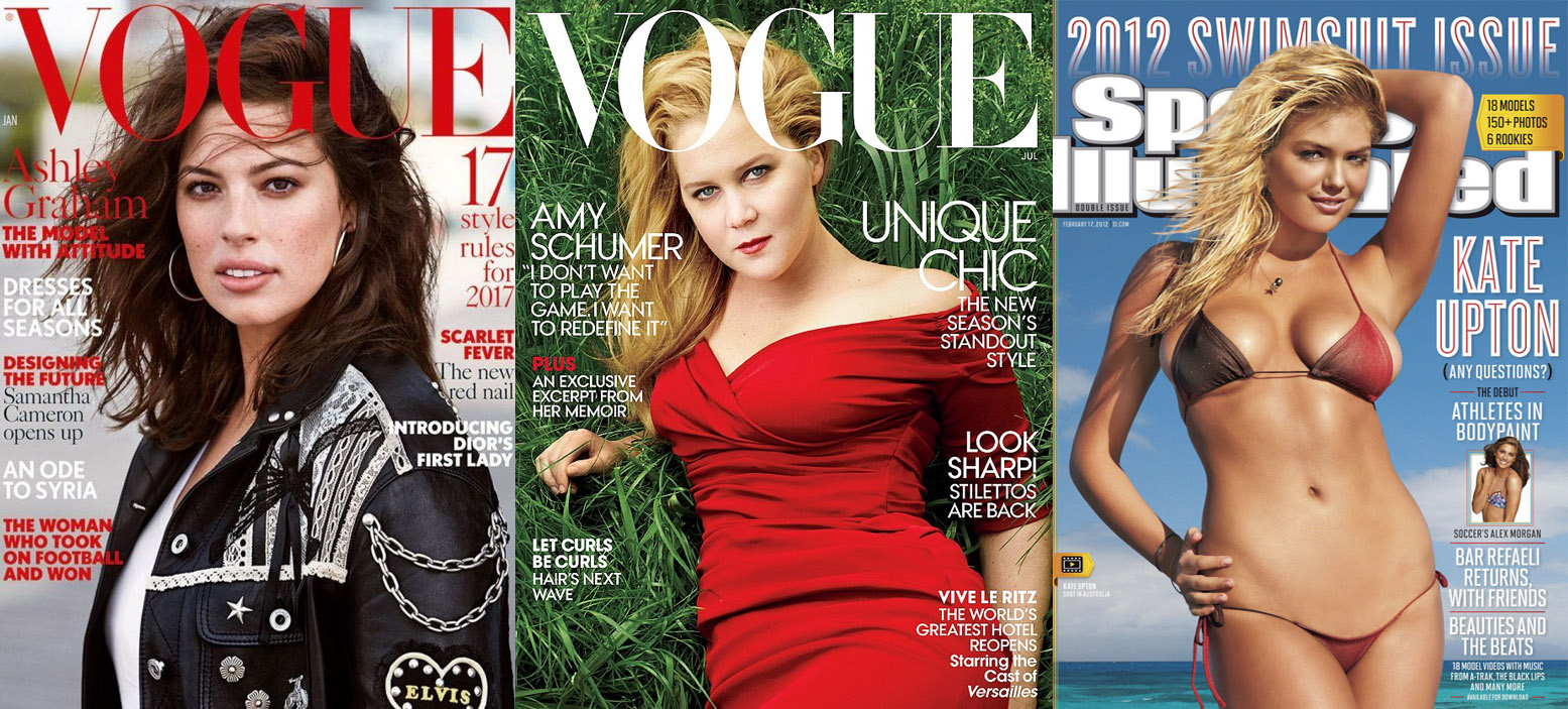 Эшли Грэм на обложке Vogue; Эми Шумер на обложке Vogue; Кейт Аптон на обложке Sports Illustrated