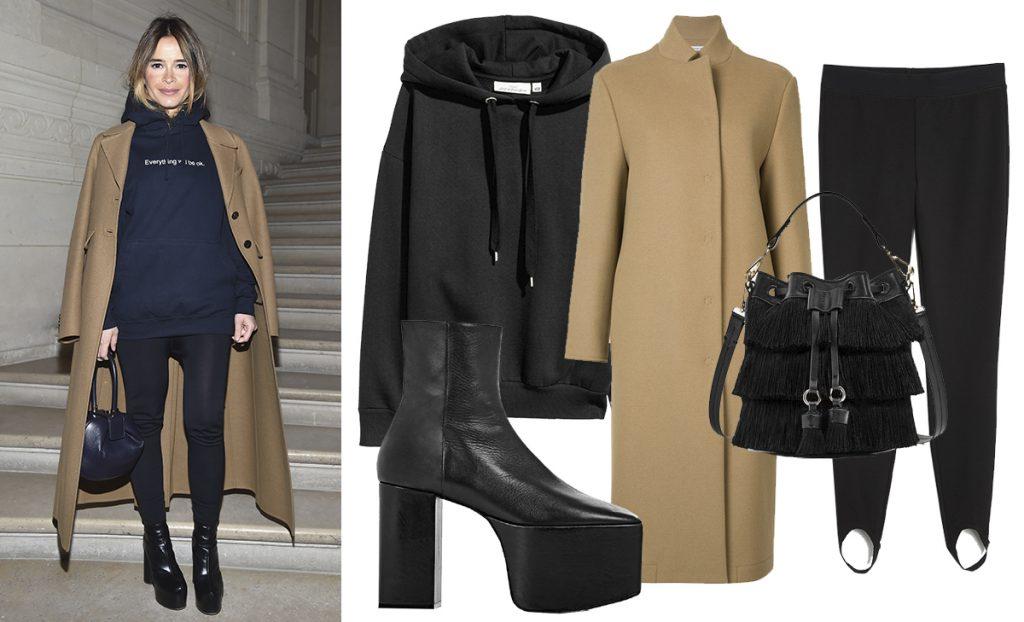 Худи H&M, 1499 руб., пальто Tomas Maier, 85747 руб., обувь Balenciaga, 66900 руб., легинсы Monki, 1780 руб., сумка Zara, 2999 руб.