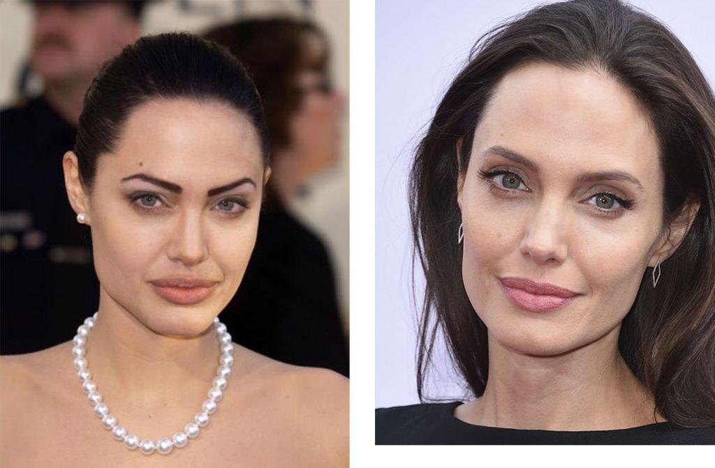 Анджелина Джоли тоже делает татуаж бровей. Десять лет назад ее мастер явно делал что-то не так, повезло, что теперь у нее с бровями все в порядке. 2002/2016