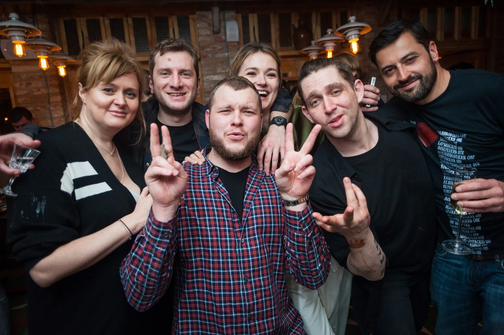 Анна Михалкова, Резо Гигинеишвили, Надежда Михалкова, Алексей Киселев и Сергей Бондарчук