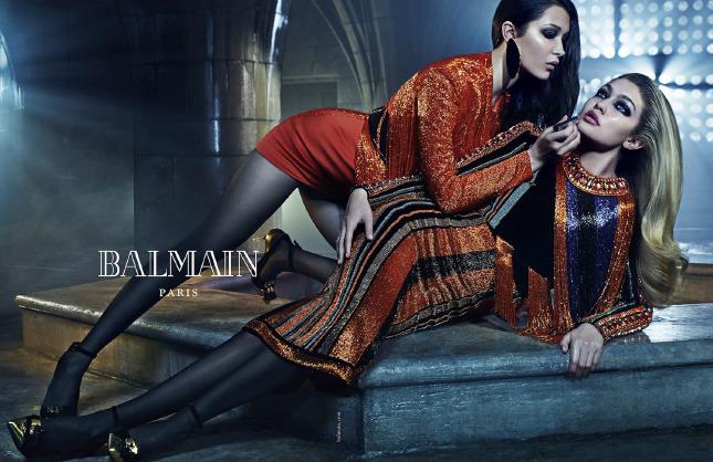 Джиджи и Белла Хадид в рекламной кампании Balmain