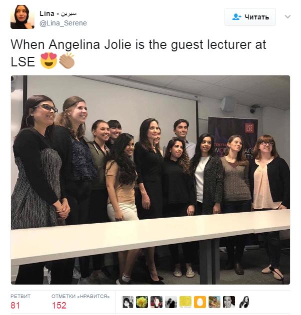 Анджелина Джоли на лекции в Лондоне