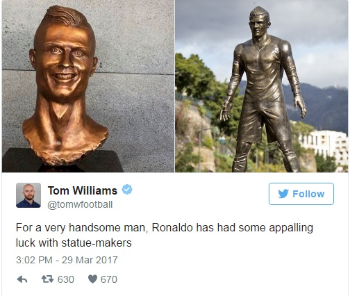 У красавчика Роналду какая-то проблема с людьми, которые создают его статуи