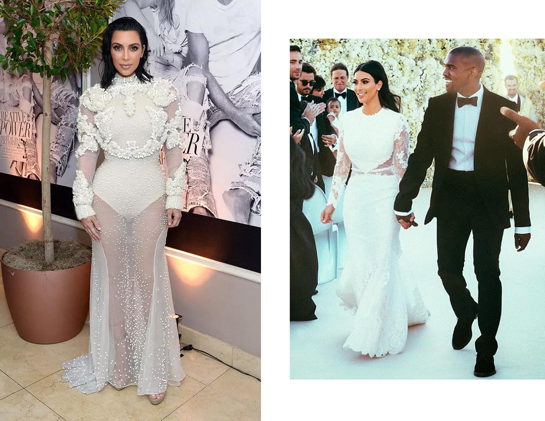 Слева: Ким Кардашьян на Fashion Awards 2017. Справа: Ким Кардашьян и Канье Уэст на свадьбе в 2014-м
