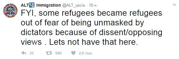 Чтобы вы знали, некоторые беженцы стали беженцами из-за своих оппозиционных взглядов. Давайте не допустим этого здесь