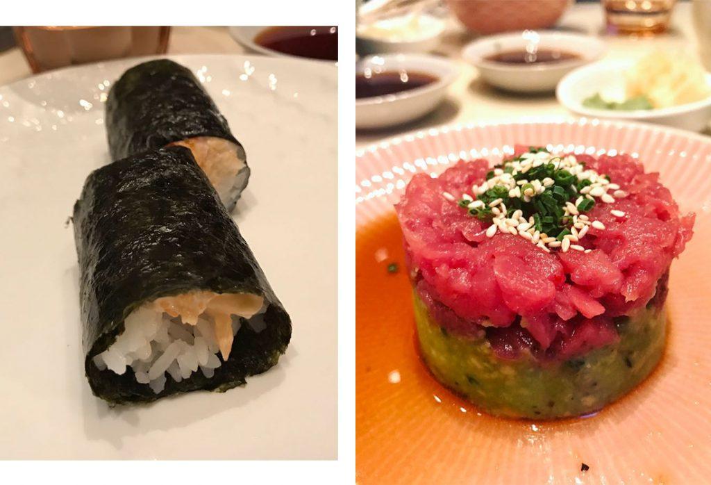 Ручной ролл с крабом, 440 р.; тартар тунец блюфин, авокадо пюре, 720 р.