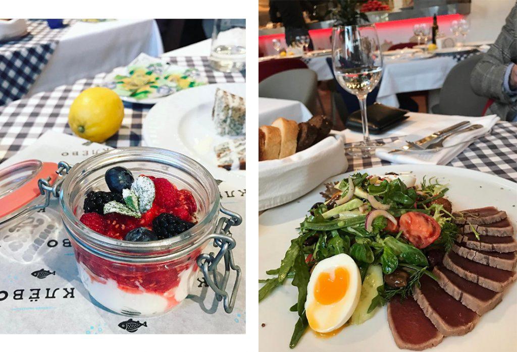 Йогурт с ягодами, 400 р.; салат Нисуаз, 700 р.