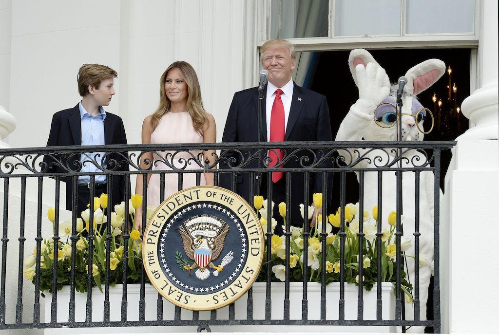 Бэррон,Мелания и Дональд Трамп