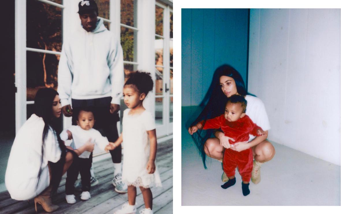 Ким и Канье с дочкой Норт и сыном Сейнтом