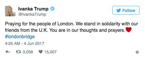Молюсь за людей в Лондоне. Вы в наших мыслях и молитвах.