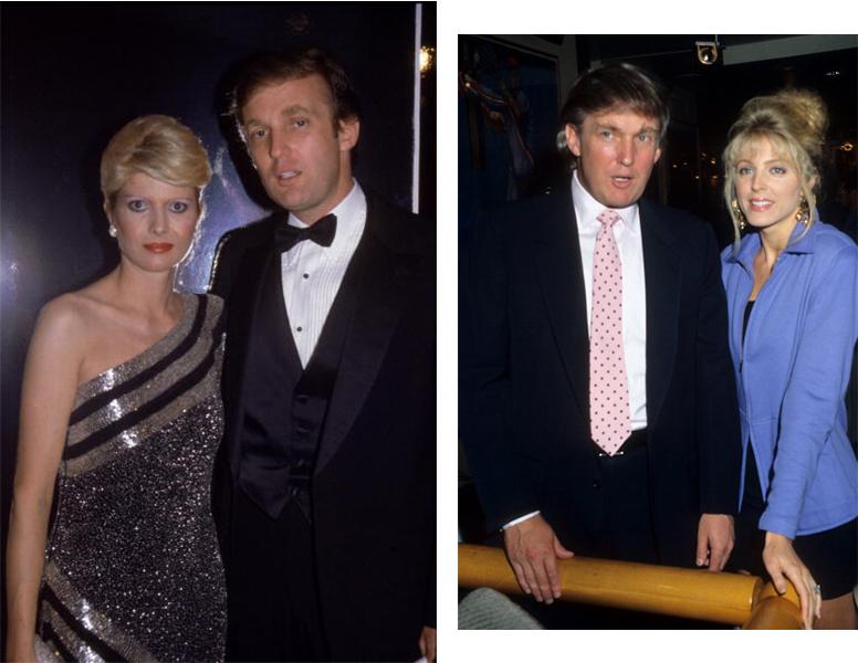 Дональд Трамп с Иваной Трамп и Марлой Мейплз