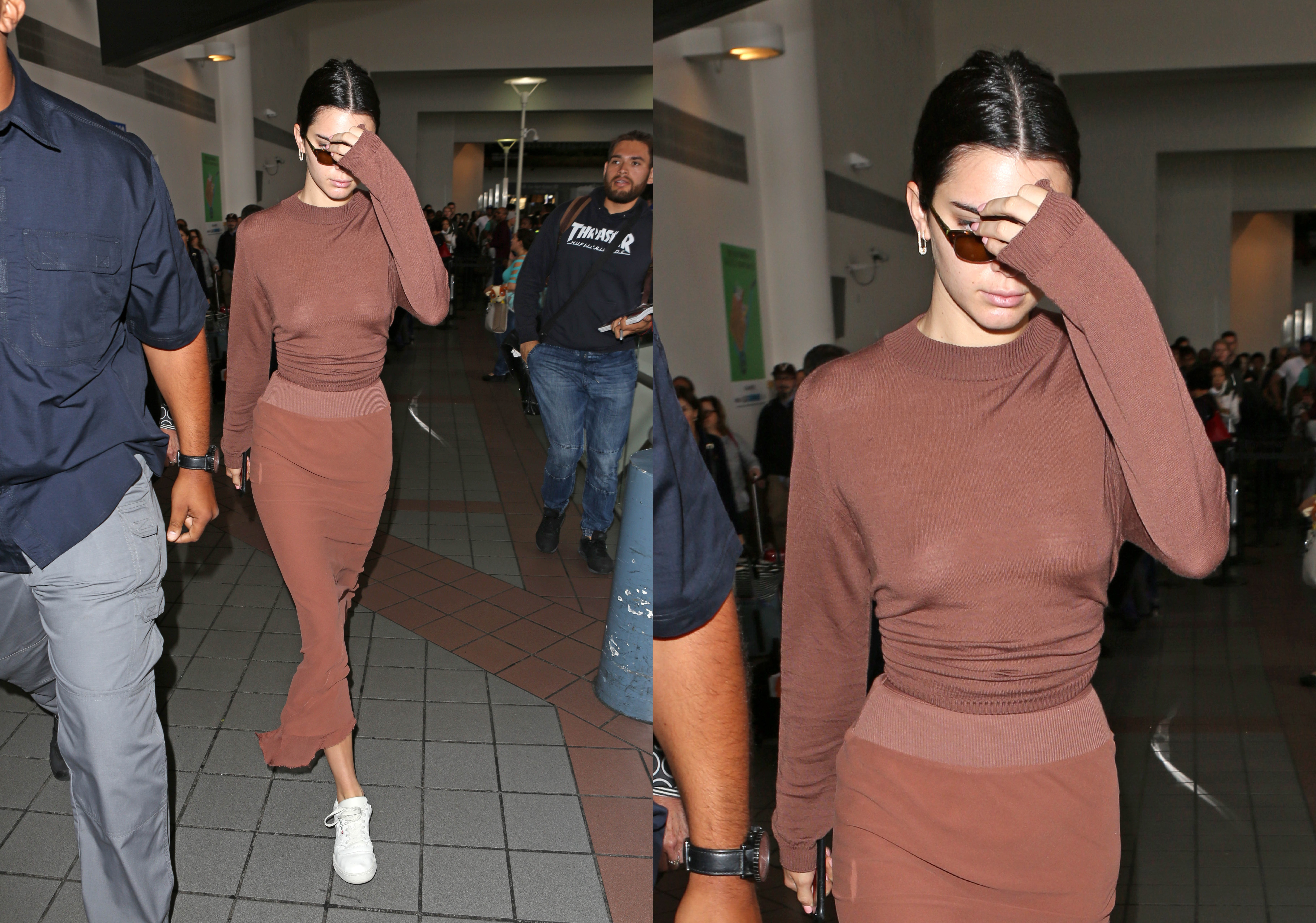 Kendall Jenner arrives at LAX all dressed in brown