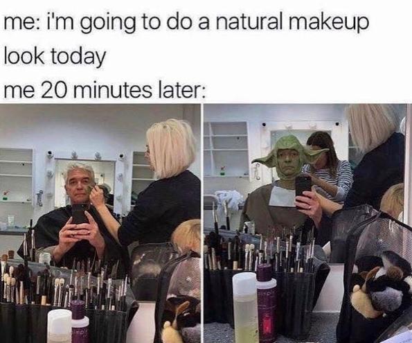 Когда попросила сделать натуральный макияж. И то, как ты выглядишь через 20 минут
