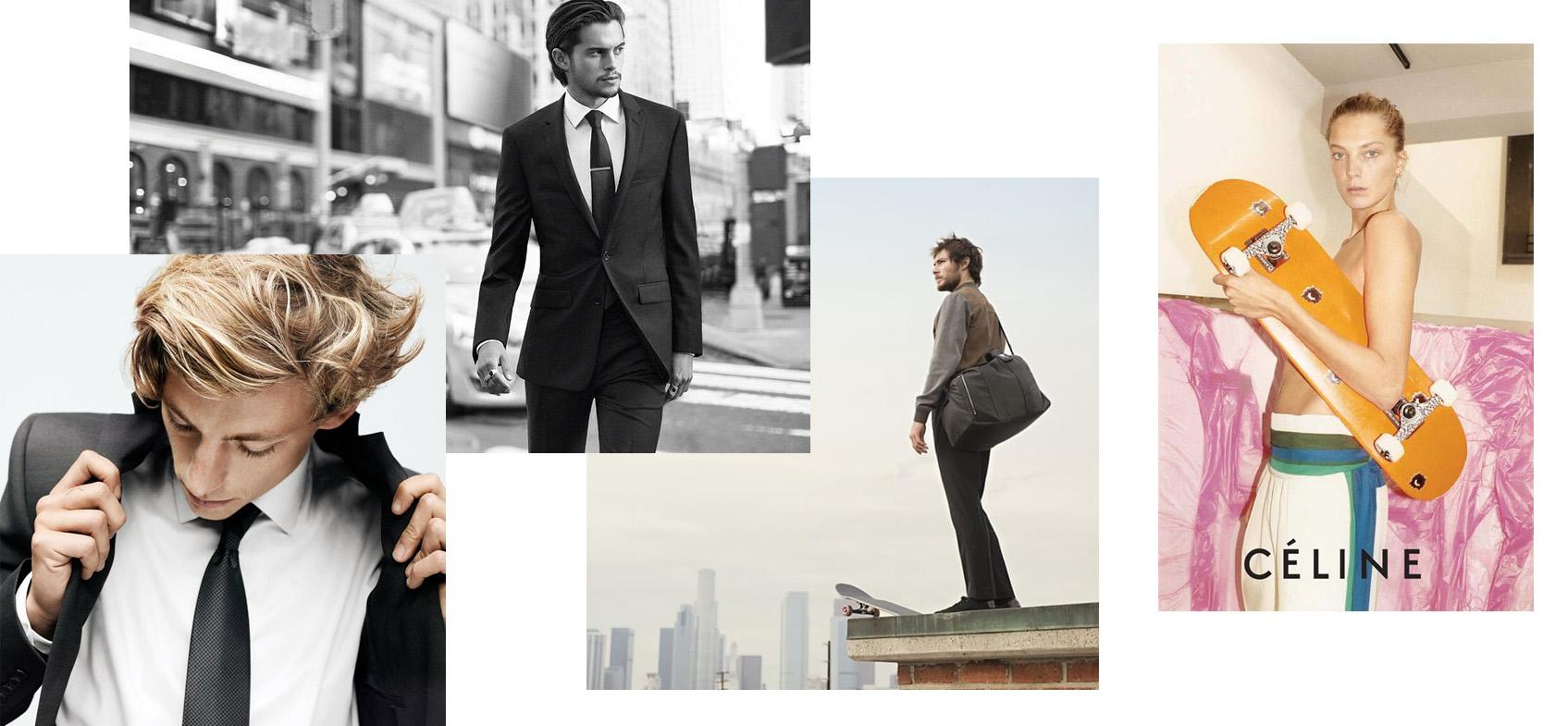 Бен Нордберг и Дилан Ридер в рекламных кампаниях DKNY; Алекс Олсон в рекламной кампании Louis Vuitton; Рекламная кампания Celine
