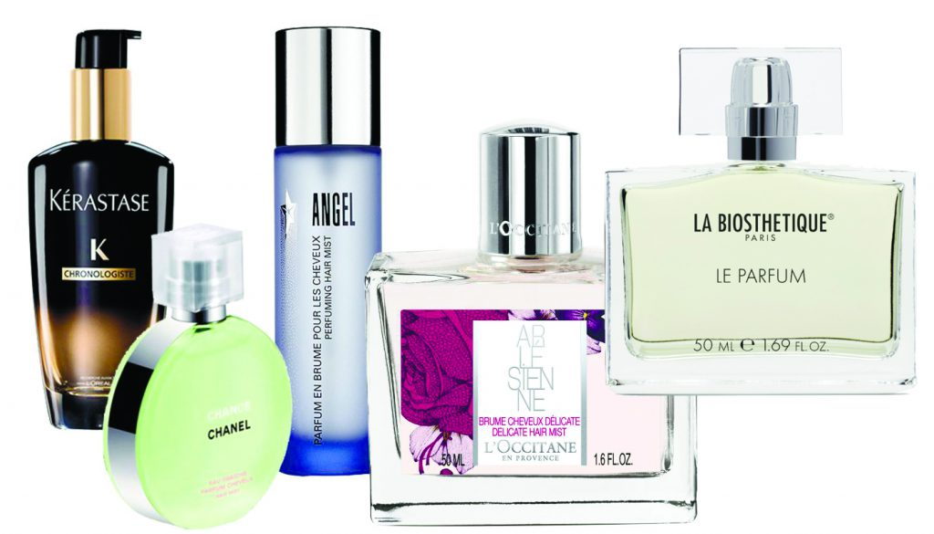 Парфюм для волос Kerastase, цена по запросу; парфюмированная вуаль для волос Chance Eau Fraîche, 2069 р.; мест для волос Angel, цена по запросу; парфюмированная вуаль для волос ARLESIENNE, L'Occitan, 2050 р.; туалетная вода Le Parfum La Biosthetique, цена по запросу