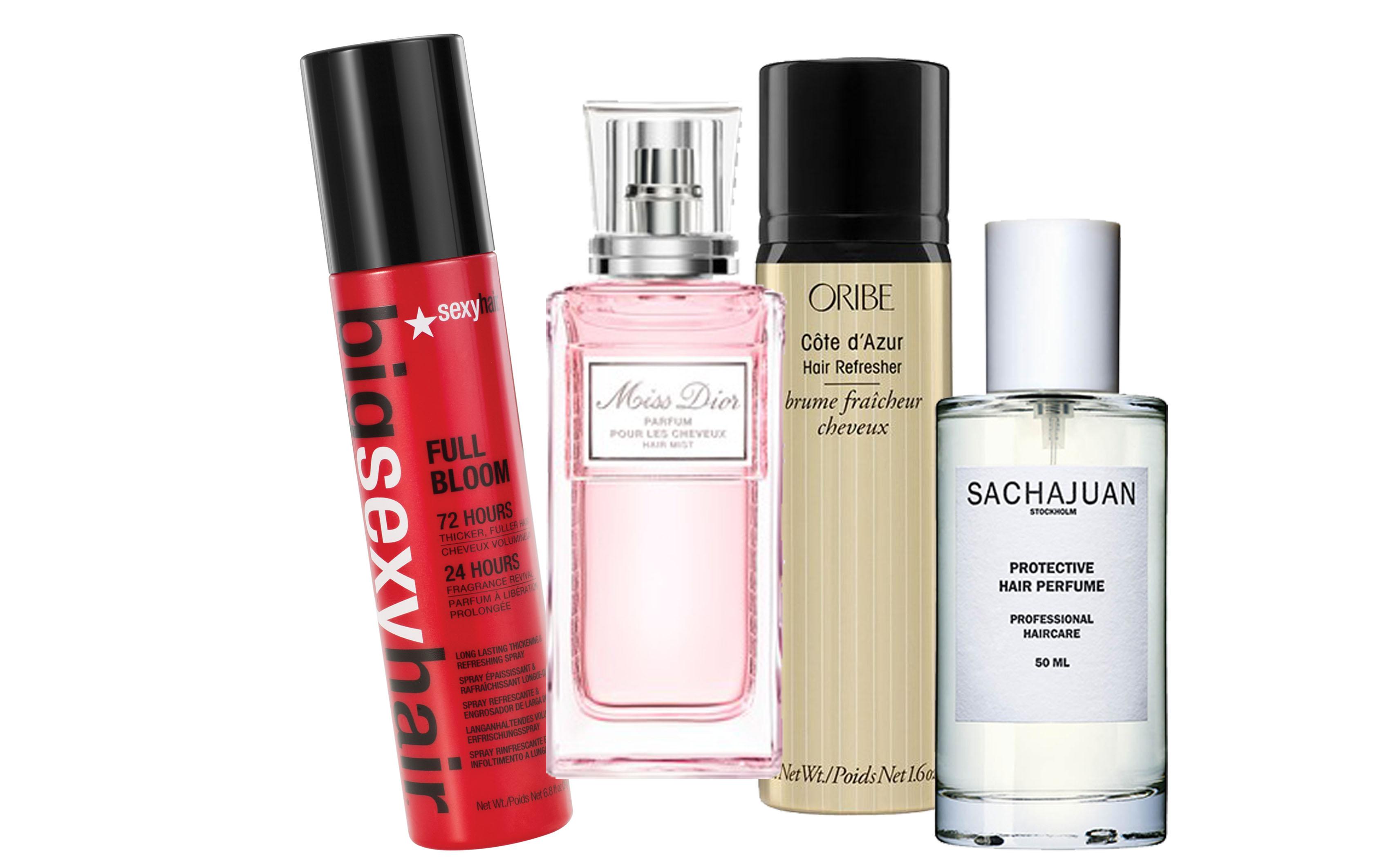 Спрей для объема, Sexy Hair, 1680 р.; парфюм для волос Miss Dior Hair Mist, Dior, цена по запросу; парфюм для волос Oribe, цена по запросу; дымка для волос Protective Hair Perfume от Sachajuan, цена по запросу