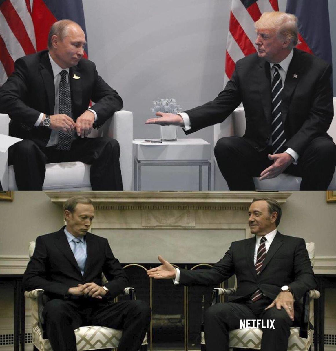 """Сравнение встречи Путина и Трампа и сериала """"Карточный домик"""""""