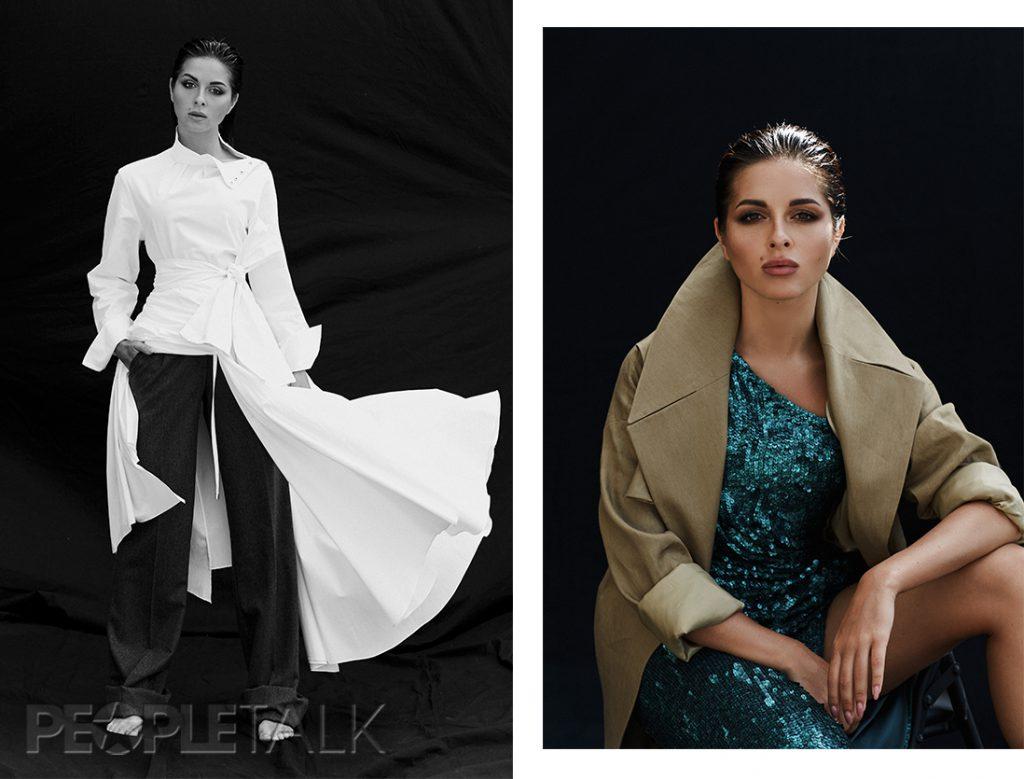 Слева: блуза и юбка, Topshop; брюки, Форма. Справа: платье, Valentin Yudashkin; плащ, osome2some