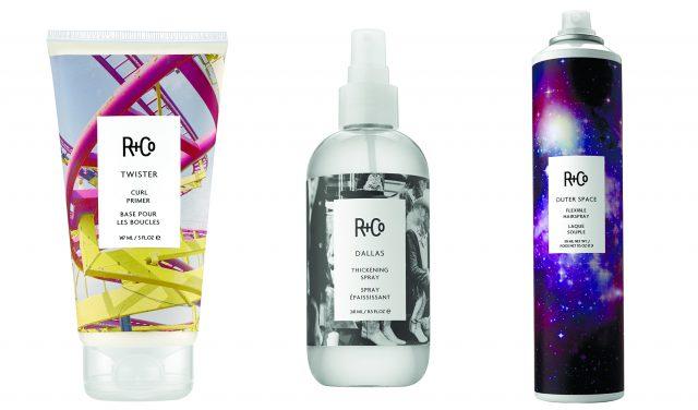 Средство для создания кудрей Twister Curl Primer, спрей Dallas Thickening Spray и спрей Outer Space Flexible Hairspray, R+Co