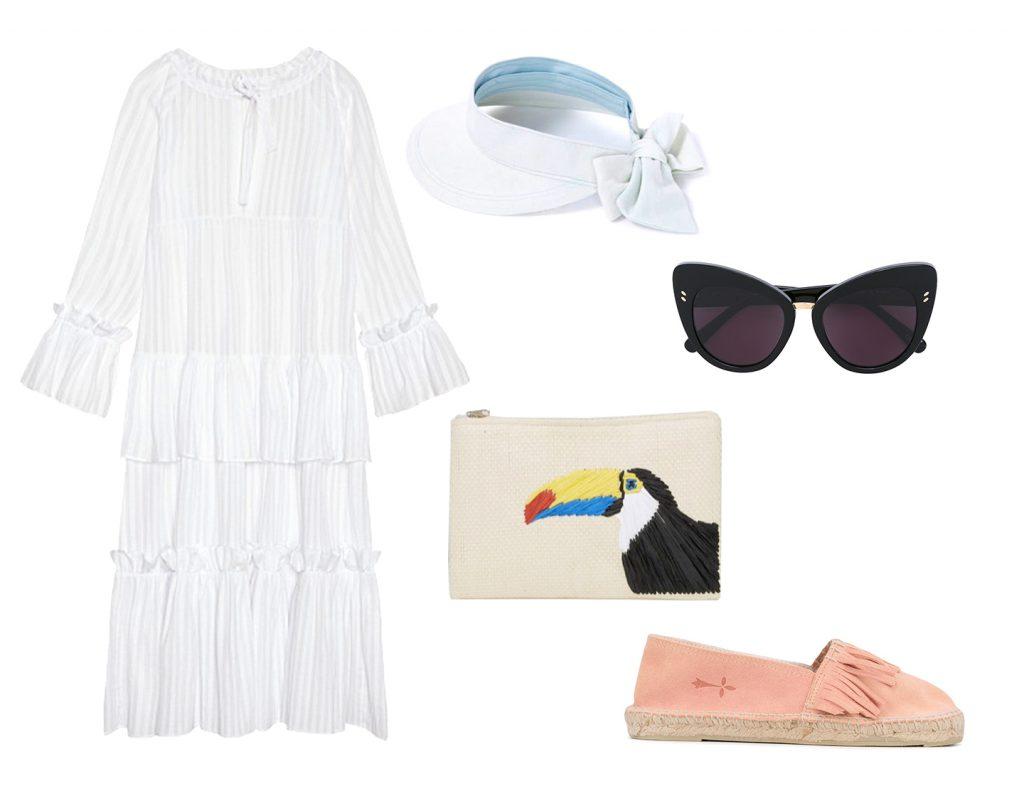 Платье I AM Studio, 7800 руб., головной убор Oysho, цена по запросу, клатч Asos, 975 руб., обувь MANEBI, 2488 руб.,  очки Stella McCartney, цена по запросу.