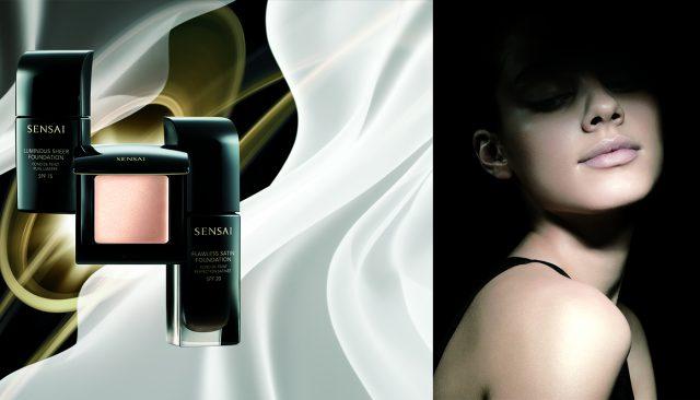Основа под макияж Glowing Base SPF15, тональный крем Luminous Sheer Foundation и пудра, Sensai