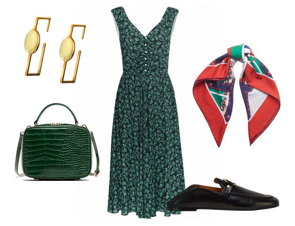 Сумка Zara, 2599 руб., серьги Ambery, цена по запросу, платье MATRЁSHKINY, 48300 руб., платок Gucci, цена по запросу, обувь Isabel Marant, цена по запросу.