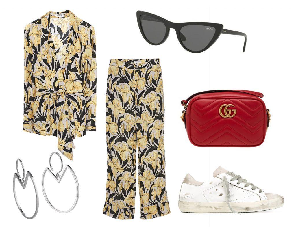 Костюм Equipment, цена по запросу, серьги AVGVST by Natalia Bryantsva, цена по запросу, очки Vogue Eyewear x Gigi Hadid, 8340 руб., сумка Gucci, цена по запросу, обувь Golden Goose Deluxe Brand, цена по запросу.