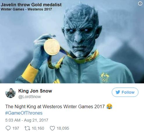 Ночной Король на Зимних Олимпийских играх в Вестеросе 2017 год