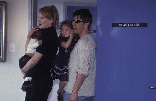 Николь Кидман и Том Круз с детьми Изабеллой и Коннором