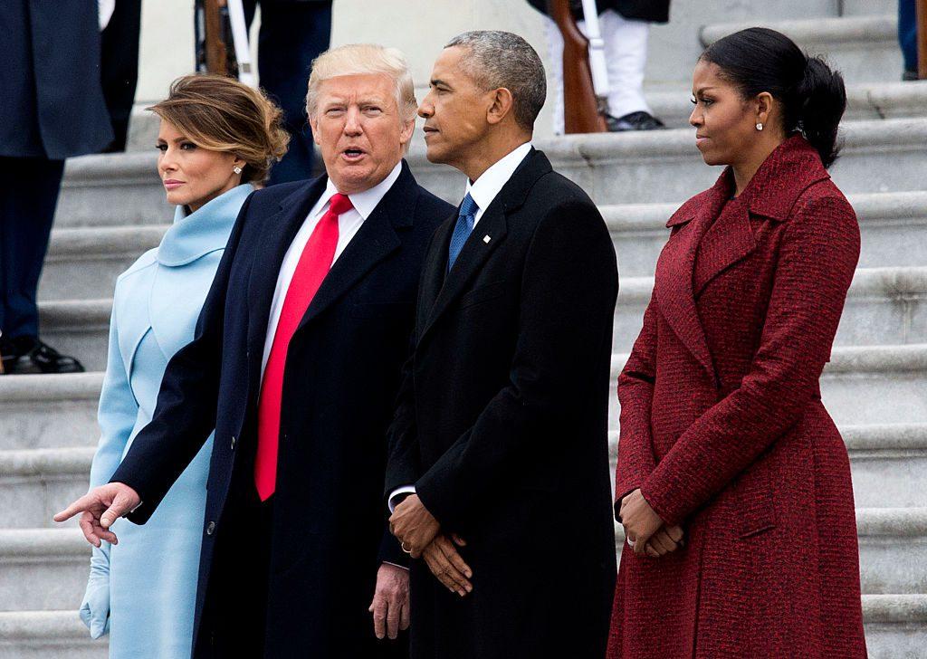Мелания Трамп, Дональд Трамп, Барак Обама и Мишель Обама
