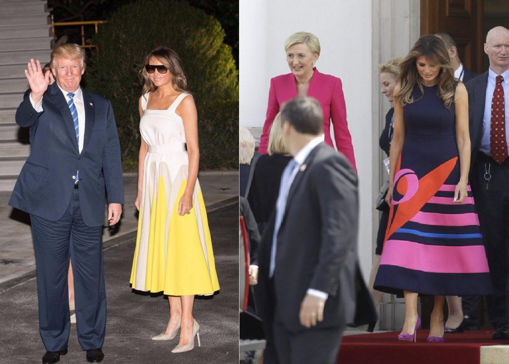 Меланія Трамп на шляху до Вашингтона в плаття Delpozo / Меланія Трамп на зустрічі з першою леді Польщі Агатою Корнхаусер-Дуда