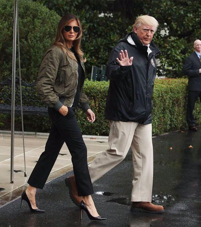 Мелания и Дональд Трамп прилетели поддержать пострадавших от урагана, 29 августа 2017
