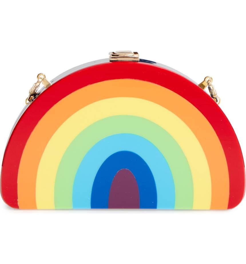 Milly Rainbow Half Moon Clutch, $295
