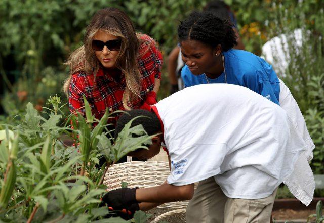 Мелания Трамп в саду