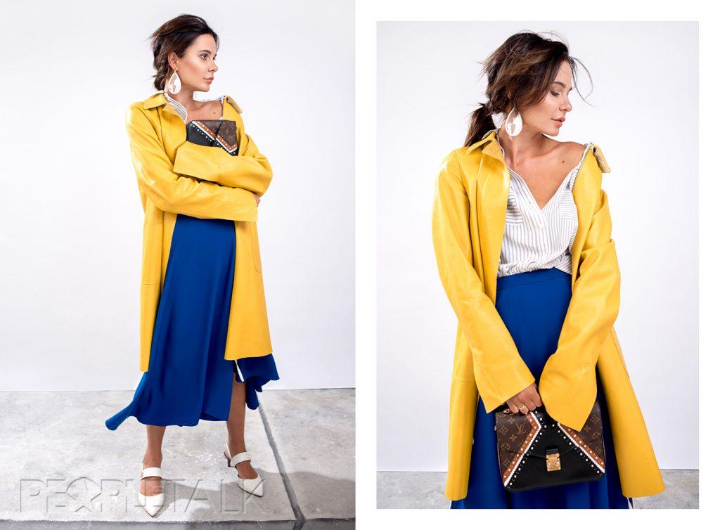 Рубашка Equipment, кожаное пальто Goladamian, юбка ALEXANDER TEREKHOV, сумка Louis Vuitton, мюли собственность стилиста