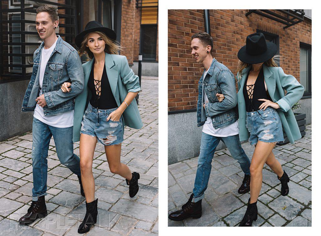 На Егоре: джинсовая куртка Levi's, футболка Uniqlo, джинсы Tommy Hilfiger, ботинки Jimmy Choo;  На Марии: пиджак Nebo, купальник BodyPoetry, шорты Topshop, шляпа Woolrich, обувь Vagabond