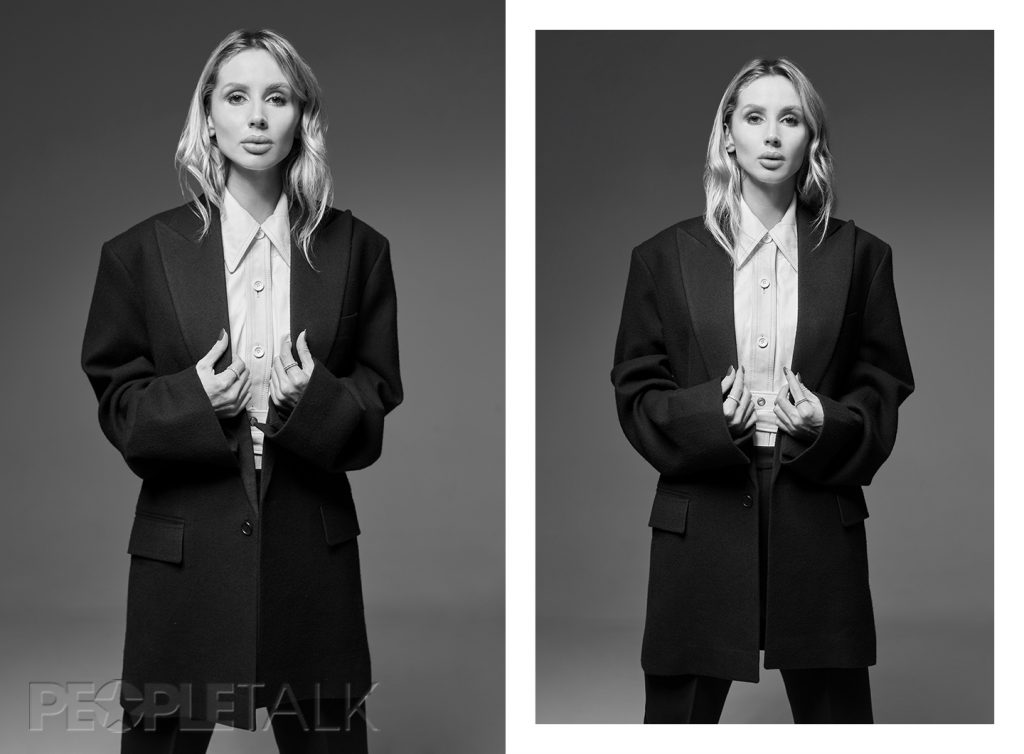 Пиджак, блузка, брюки, CELINE; кольца, MERCURY