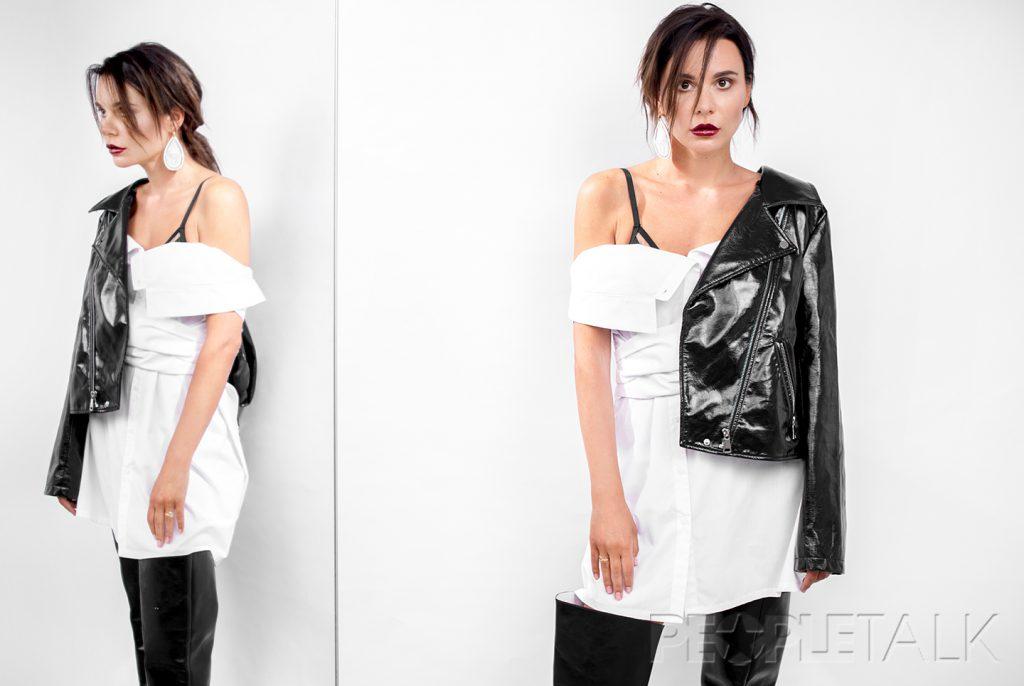 Рубашка On course (мультибренд KURSOVOY), куртка Guess, ботфорты Louis Vuitton