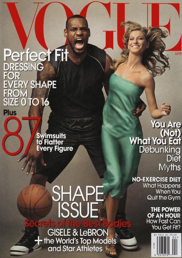 Первый темнокожий мужчина Леброн Джеймс на обложке Vogue (Vogue US, апрель 2008)